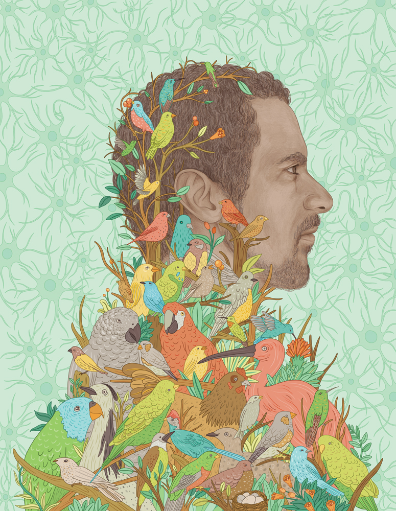 Gaby D'Alessandro -Feather in his cap - Jarvis-Portrait-Birds-Science